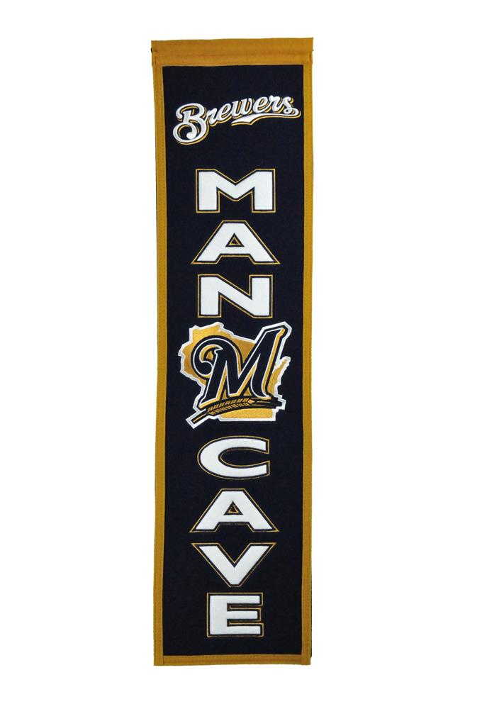 "Milwaukee Brewers 8""x32"" Wool Man Cave Banner"