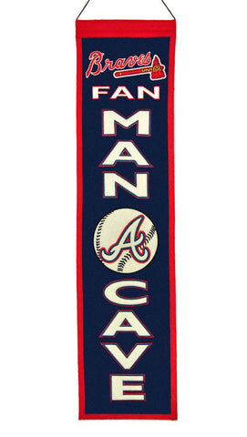 "Atlanta Braves 8""x32"" Wool Man Cave Banner"