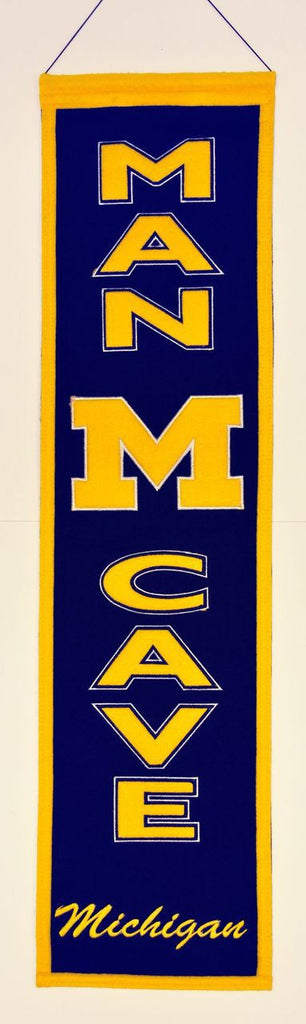 "Michigan Wolverines 8""x32"" Wool Man Cave Banner"
