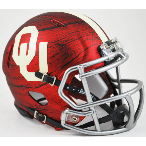Oklahoma Sooners Riddell Speed Mini Helmet - Bring The Wood Hydro Red