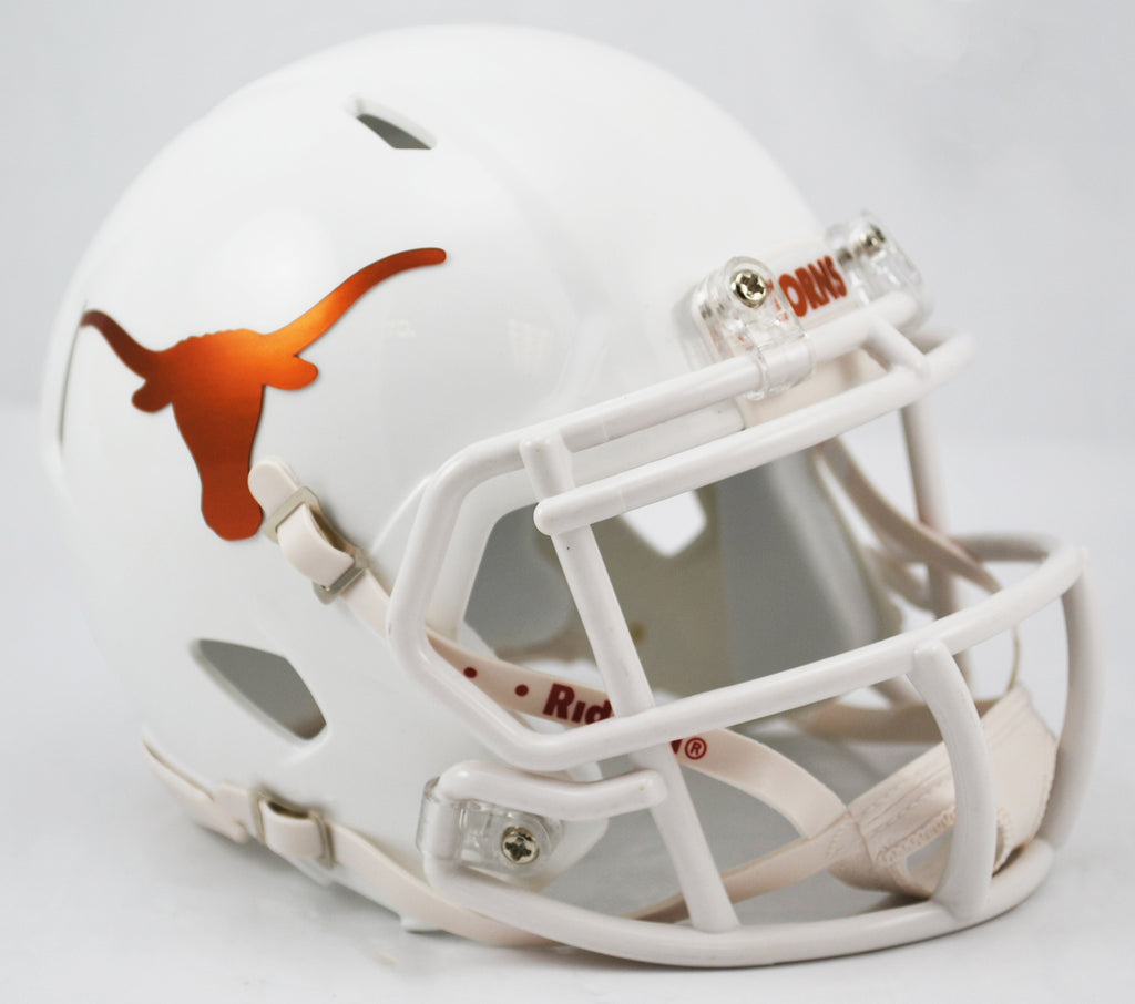 Texas Longhorns Riddell Speed Mini Helmet - Chrome Decals Alternate