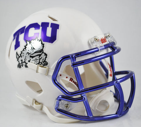 TCU Horned Frogs Riddell Speed Mini Helmet - White Alternate with Chrome Facemask