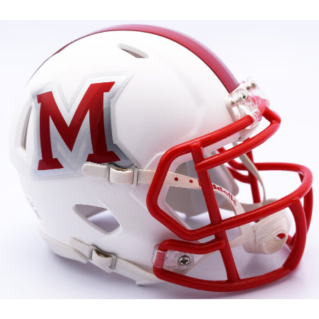 Miami Redhawks Riddell Speed Mini Helmet - Matte White