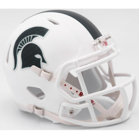 Michigan State Spartans Matte White Riddell Speed Mini Helmet