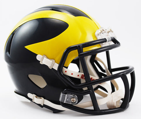Michigan Wolverines Low Gloss Blue Riddell Speed Mini Helmet