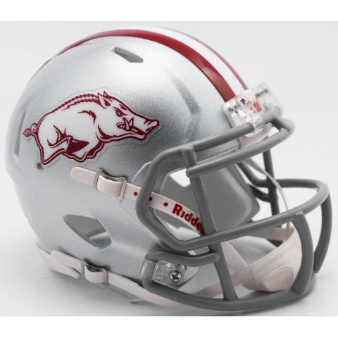 Arkansas Razorbacks Silver Riddell Speed Mini Helmet