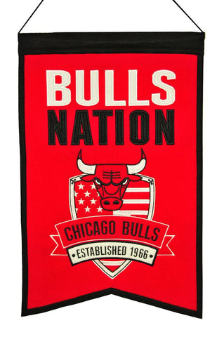 "Chicago Bulls 20""x15"" Wool Bulls Nation Banner"