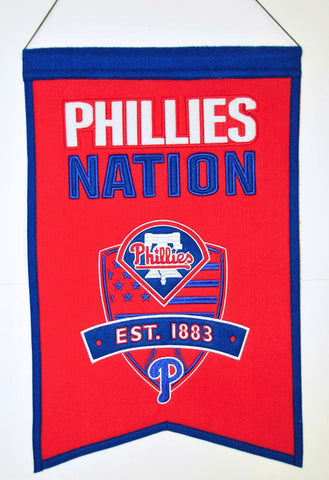 "Philadelphia Phillies 20""x15"" Wool Phillies Nation Banner"