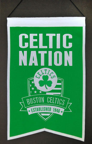 "Boston Celtics 20""x15"" Wool Celtic Nation Banner"