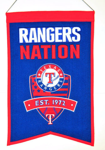 "Texas Rangers 20""x15"" Wool Rangers Nation Banner"