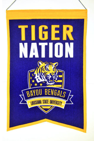 "LSU Tigers 20""x15"" Wool Tiger Nation Banner"