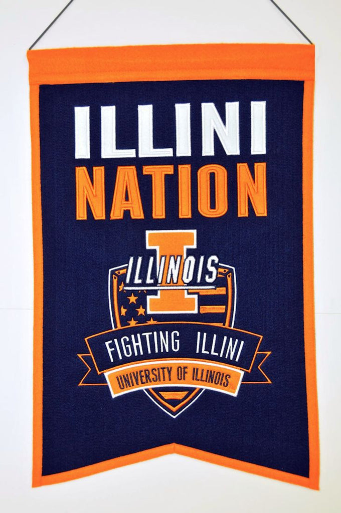 "Illinois Fighting Illini 20""x15"" Wool Illini Nation Banner"