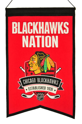 "Chicago Blackhawks 20""x15"" Wool Blackhawks Nation Banner"