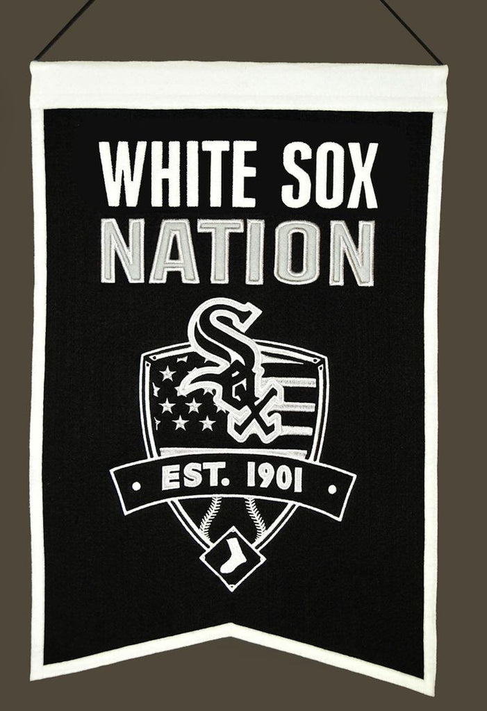 "Chicago White Sox 20""x15"" Wool White Sox Nation Banner"