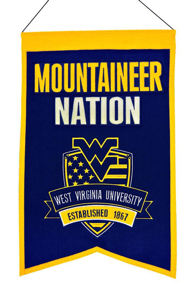 "West Virginia Mountaineers 20""x15"" Wool Mountaineer Nation Banner"