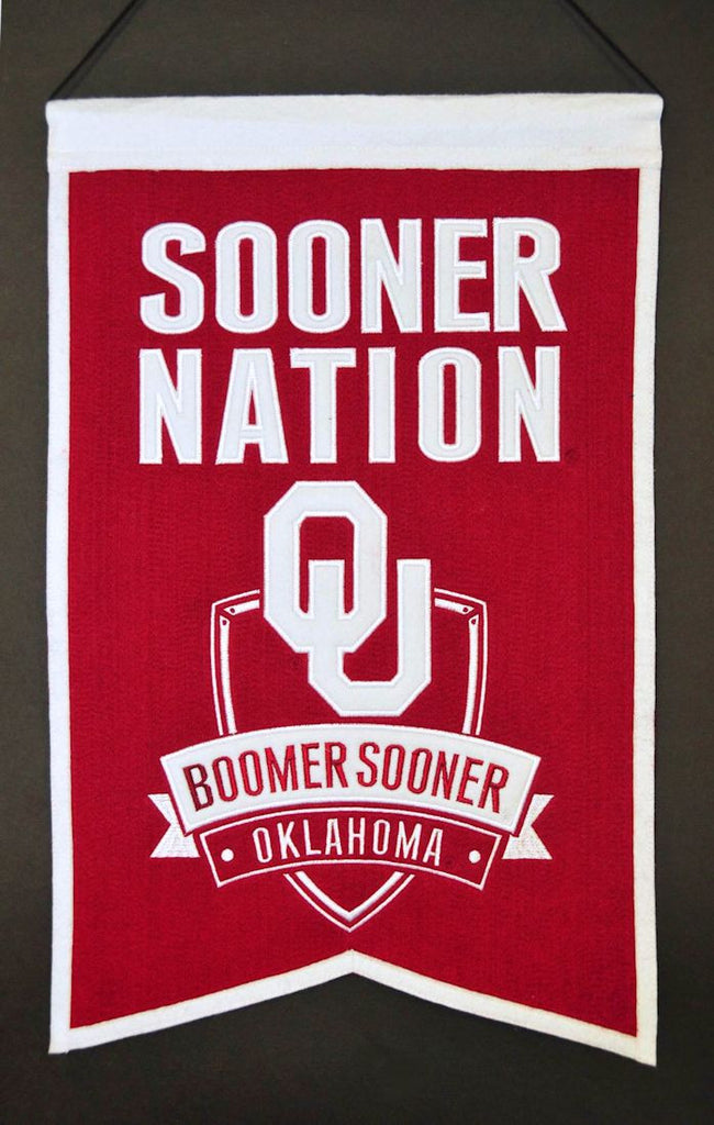 "Oklahoma Sooners 20""x15"" Wool Sooner Nation Banner"