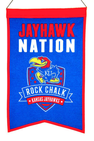 "Kansas Jayhawks 20""x15"" Wool Jayhawk Nation Banner"