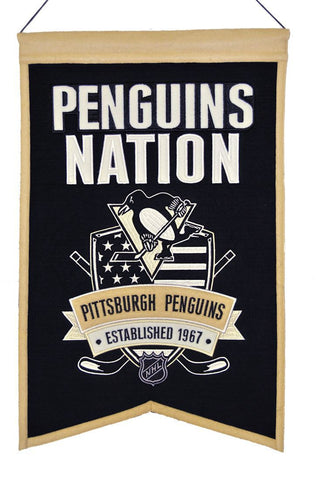 "Pittsburgh Penguins 20""x15"" Wool Penguins Nation Banner"
