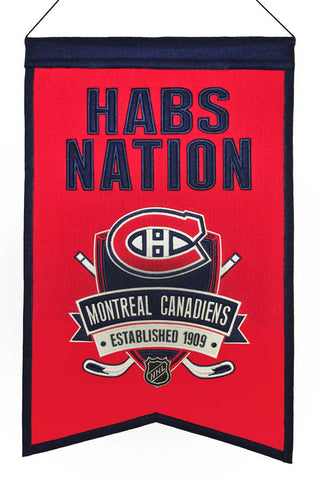 "Montreal Canadiens 20""x15"" Wool Habs Nation Banner"