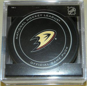 Anaheim Ducks Official Game Puck In Display Holder