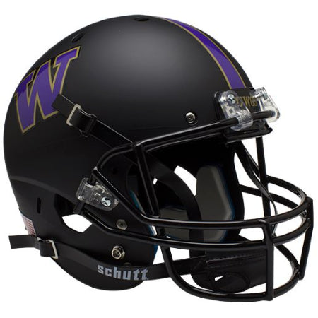 Washington Huskies Matte Black Schutt XP Replica Helmet - Alternate 1