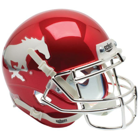 SMU Mustangs Chrome Schutt XP Replica Helmet - Alternate 1