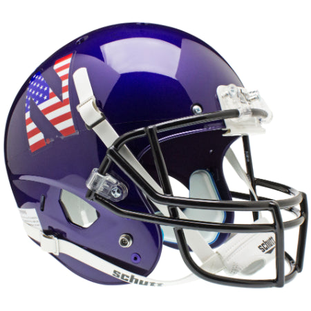Northwestern Wildcats Stars & Stripes Schutt XP Replica Helmet - Alternate 1