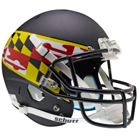 Maryland Terrapins Black with Flag Schutt XP Replica Helmet - Alternate 1