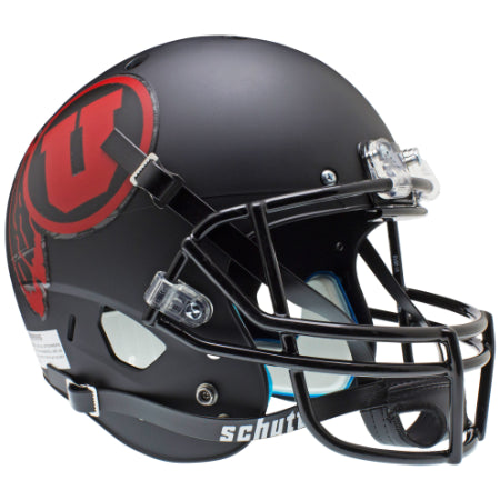 Utah Utes Matte Black with Red Decal Schutt XP Replica Helmet - Alternate 1