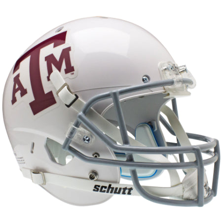 Texas A&M Aggies White with Grey Mask Schutt XP Replica Helmet - Alternate 2