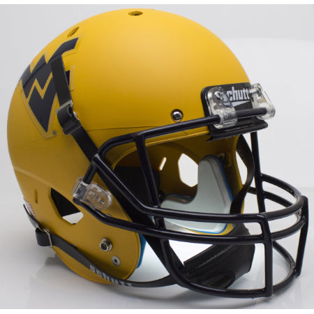 West Virginia Mountaineers Matte Gold Schutt XP Replica Helmet - Alternate 2