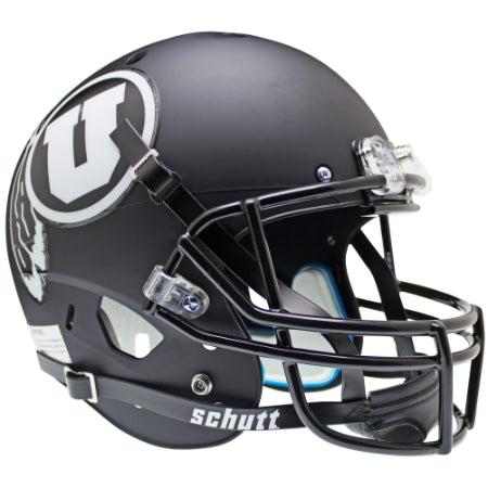 Utah Utes Matte Black with White Decal Schutt XP Replica Helmet - Alternate 2