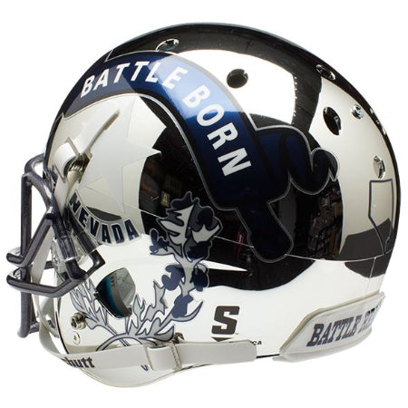 Nevada Wolfpack Chrome Silver Schutt XP Replica Helmet - Alternate 3