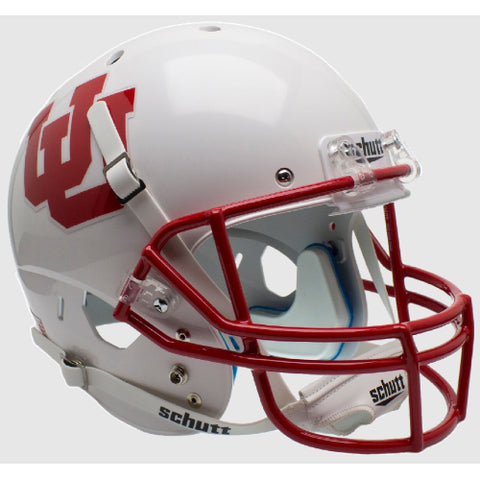 Utah Utes White with UU Logo Schutt XP Replica Helmet - Alternate 4