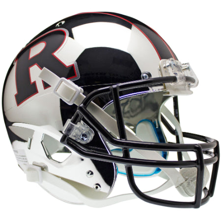 Rutgers Scarlet Knights Chrome Black R & Stripe Schutt XP Replica Helmet - Alternate 5
