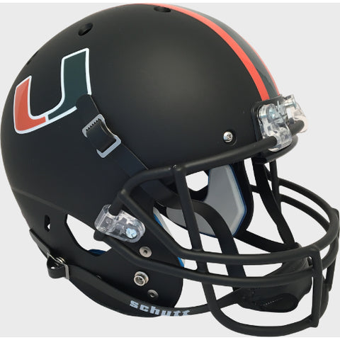 Miami Hurricanes Matte Black Schutt XP Replica Helmet - Alternate 7