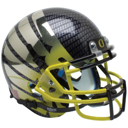 Oregon Ducks Smoke AquaTech Wing Logo Yellow Mask Schutt XP Mini Helmet - Alternate 11