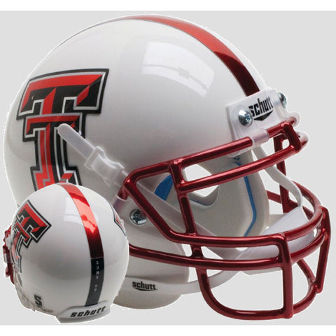 Texas Tech Red Raiders White with Red Chrome Mask Schutt XP Mini Helmet - Alternate 13