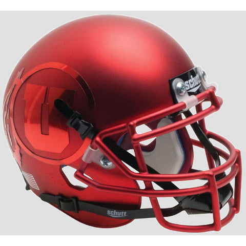 Utah Utes Satin Red with Chrome Decal Schutt XP Mini Helmet - Alternate 15