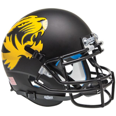 Missouri Tigers Matte Black Large Tiger Schutt XP Mini Helmet - Alternate 1