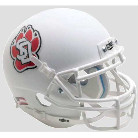 South Dakota Coyotes Matte White with Chrome Decal Schutt XP Mini Helmet - Alternate 1