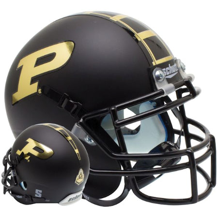 Purdue Boilermakers Matte Black Schutt XP Mini Helmet - Alternate 1