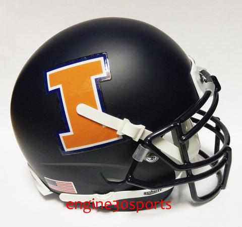 Illinois Fighting Illini Matte Navy Schutt XP Mini Helmet - Alternate 1