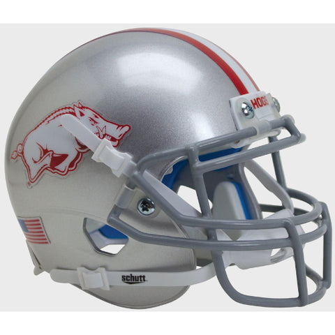 Arkansas Razorback Silver Schutt XP Mini Helmet - Alternate 2