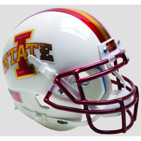 Iowa State Cyclones White with Chrome Mask Schutt XP Mini Helmet - Alternate 2
