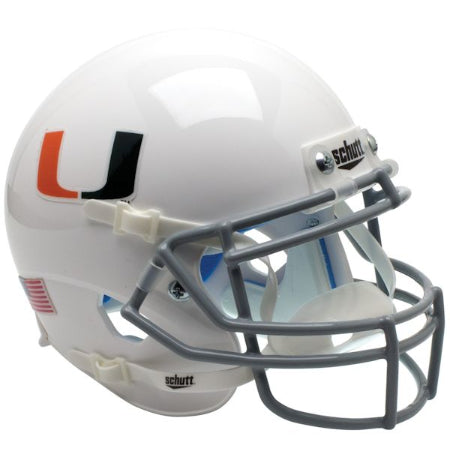 Miami Hurricanes White with Grey Facemask Schutt XP Mini Helmet - Alternate 2