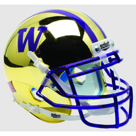 Washington Huskies Chrome Gold Schutt XP Mini Helmet - Alternate 2