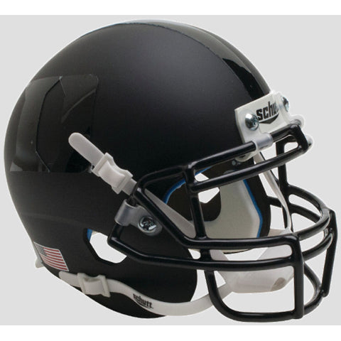 Duke Blue Devils Matte Black Helmet with Black Logo XP Schutt Mini Helmet - Alternate 2