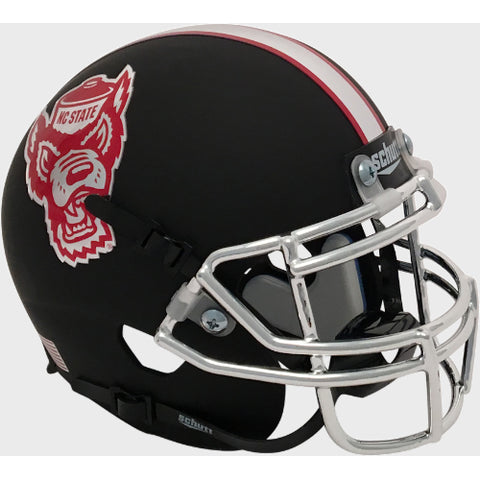 North Carolina State Wolfpack Matte Black Schutt XP Mini Helmet - Alternate 2