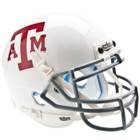 Texas A&M Aggies White with Grey Mask Schutt XP Mini Helmet - Alternate 2